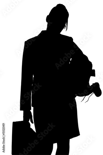 poster of silhouette with clipping path of working mom