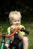 boy eating an apple poster