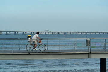 father and son in bicycle
