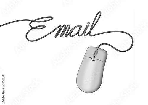 computer mouse with e-mail wording