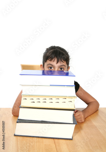 girl behind books