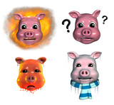 piggy emoticons - 2 poster