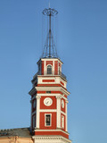 red clock tower in saint petersburg poster