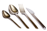 fork, spoons, knife isolated on white background poster