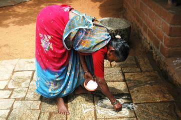 india: rice preparation