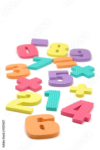 poster of foam numbers and maths symbols