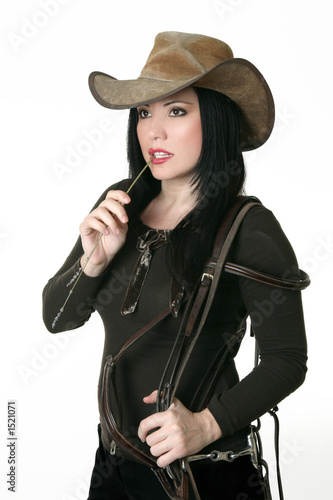poster of country woman carrying a bridle