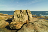 large boulders on maine coast poster
