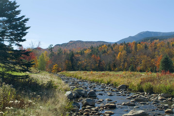 boulder strewn stream and mt washington