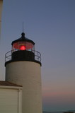 turret on bass harbor lighthouse with red glow len poster