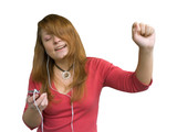 dancing girl with mp3 player poster