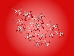 floral background - red  orchid - illustration