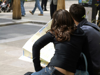 tourists reading map