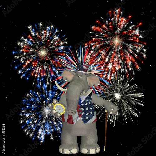 poster of political elephant - fireworks