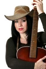 country woman with acoustic guitar