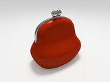red purse isolated on white background poster