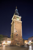 famous city tower in krakow at night poster