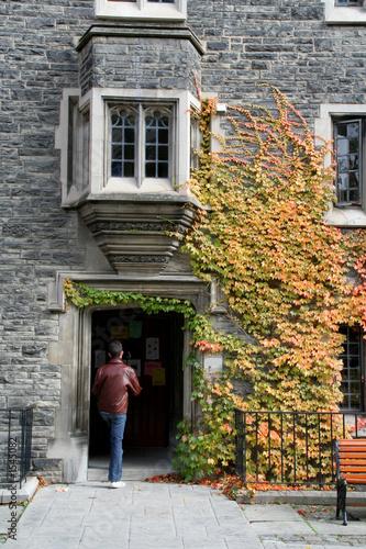 student opening door