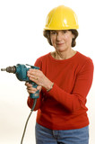 woman with electric drill poster