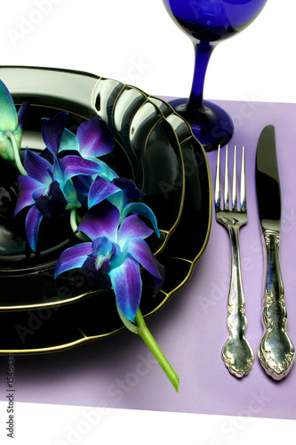 place setting with blue