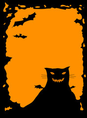halloween border with cat