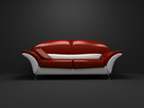 red sofa on dark background poster