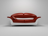 red sofa on white background poster