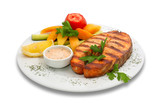 grilled sturgeon fish with vegetables