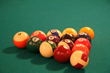 billiards table with racked balls poster