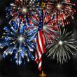 fireworks over us flag