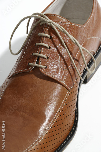 detail of a brown shoe