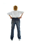 slim girl in big size jeans poster