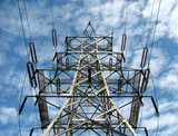 high voltage electricity pylon and the sky poster