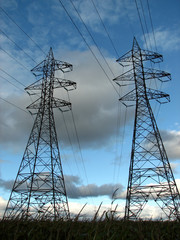 high voltage electric pylons and power lines