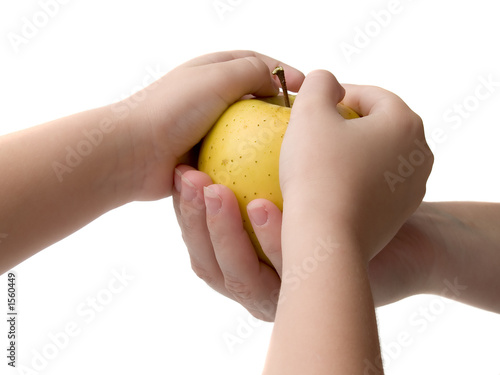 hands and apple