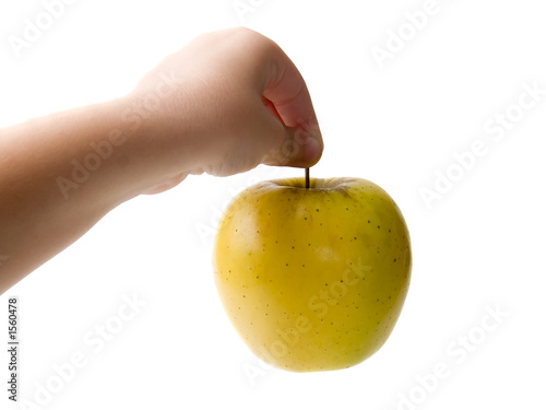 kids hand and apple
