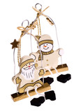 traditional christmas toys santa claus and snowman poster