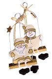 traditional christmas toys snowman and santa claus poster