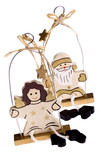 traditional christmas toys. angel and santa claus poster