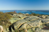 pink granite rocks and boulders in maine poster