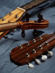 mandolin, violin, guitar heads detail