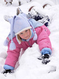 little girl lying in the snow poster