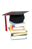 graduation cap on stack of books poster