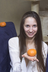 woman with tangerine