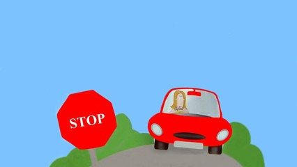 car.woman driving car. stop sign.transport.vehicl