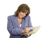 confident businesswoman multitasks poster