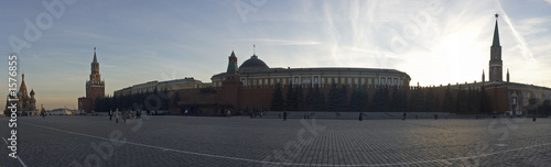 poster of red square in moscow, russia. panorama view
