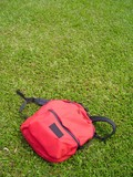 single red bag against grass field poster