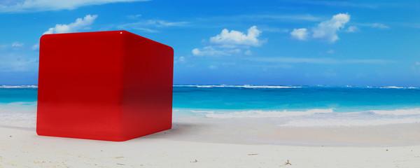 cube on beach