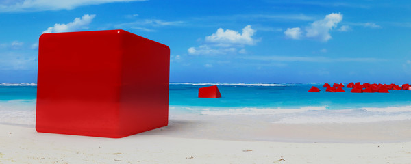 lot of cube on beach